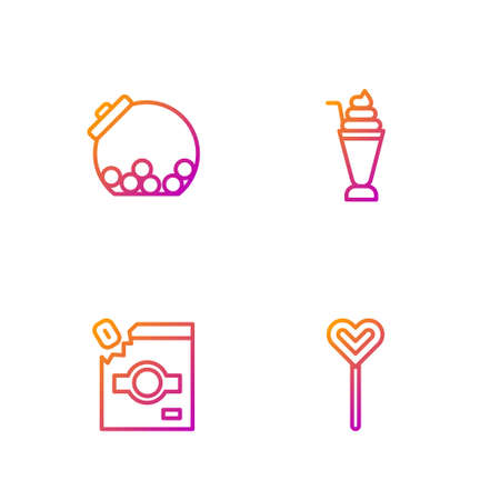 Set line Lollipop, Candy packaging for sweets, Glass jar with candies inside and Milkshake. Gradient color icons. Vector
