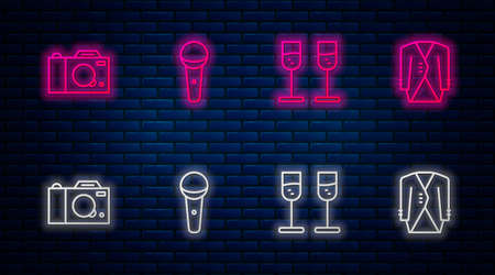 Set line Microphone, Glass of champagne, Photo camera and Suit. Glowing neon icon on brick wall. Vector 矢量图像