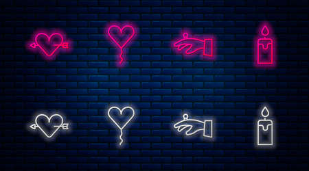Set line Balloon in form of heart, Wedding rings hand, Amour with arrow and Burning candle. Glowing neon icon on brick wall. Vector