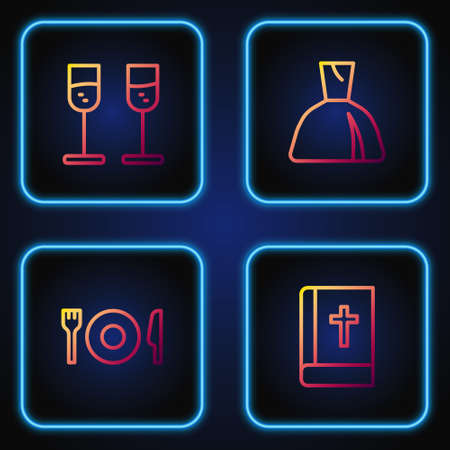 Set line Holy bible book, Plate, fork and knife, Glass of champagne and Woman dress. Gradient color icons. Vector