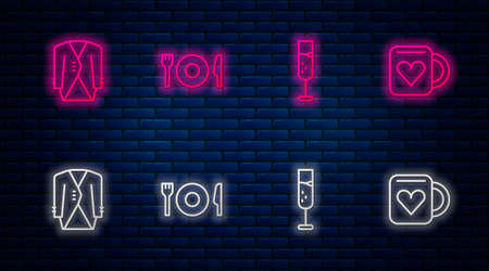 Set line Plate, fork and knife, Glass of champagne, Suit and Coffee cup heart. Glowing neon icon on brick wall. Vector