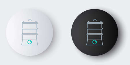 Line Double boiler icon isolated on grey background. Colorful outline concept. Vector 矢量图像