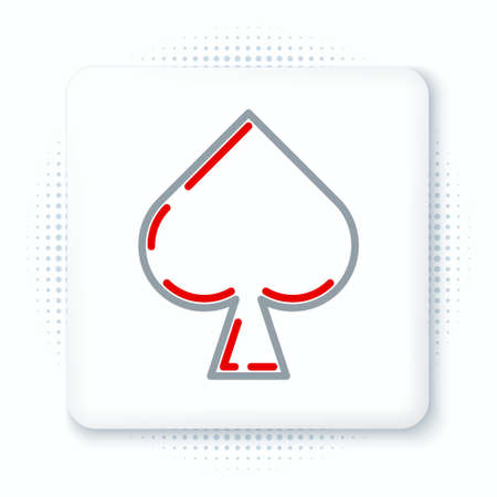 Line Playing card with spades symbol icon isolated on white background. Casino gambling. Colorful outline concept. Vector