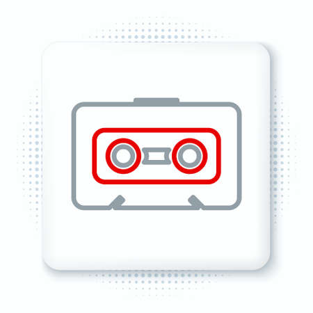 Line Retro audio cassette tape icon isolated on white background. Colorful outline concept. Vector
