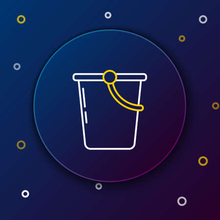 Line Bucket icon isolated on blue background. Colorful outline concept. Vector