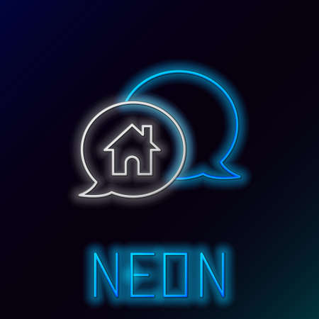Glowing neon line House building in speech bubble icon isolated on black background. Real estate concept. Colorful outline concept. Vector