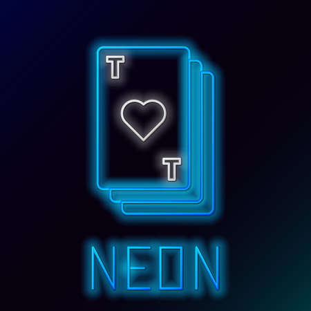 Glowing neon line Playing card with heart symbol icon isolated on black background. Casino gambling. Colorful outline concept. Vector