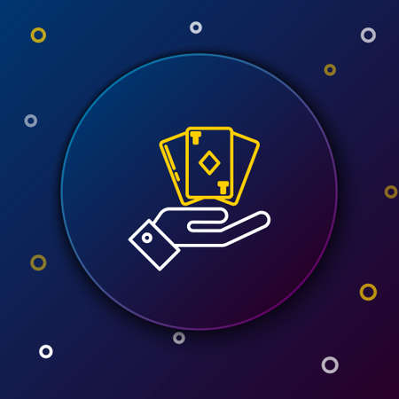 Line Hand holding deck of playing cards icon isolated on blue background. Casino gambling. Colorful outline concept. Vector 向量圖像