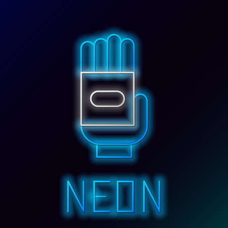 Glowing neon line Garden gloves icon isolated on black background. Rubber gauntlets sign. Farming hand protection, gloves safety. Colorful outline concept. Vector Ilustracja
