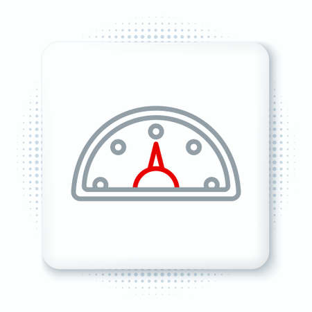 Line Speedometer icon isolated on white background. Colorful outline concept. Vector