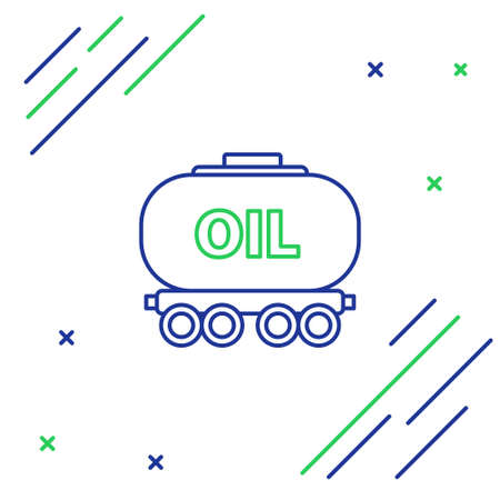 Line Oil railway cistern icon isolated on white background. Train oil tank on railway car. Rail freight. Oil industry. Colorful outline concept. Vector