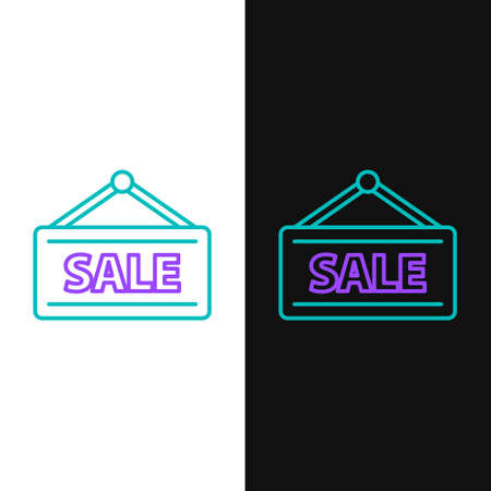 Line Hanging sign with text Sale icon isolated on white and black background. Signboard with text Sale. Colorful outline concept. Vector