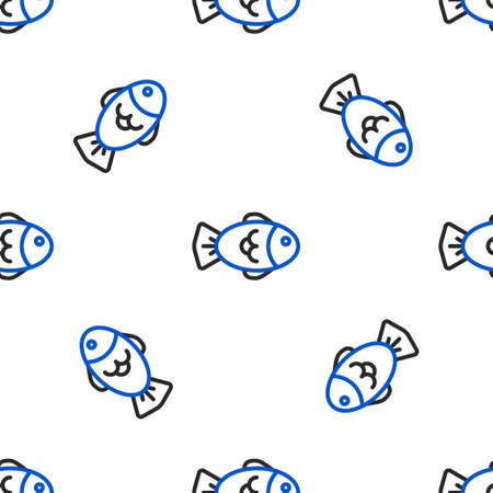 Line Fish icon isolated seamless pattern on white background. Colorful outline concept. Vector