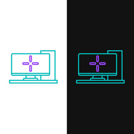 Line Computer monitor icon isolated on white and black background. PC component sign. Colorful outline concept. Vector