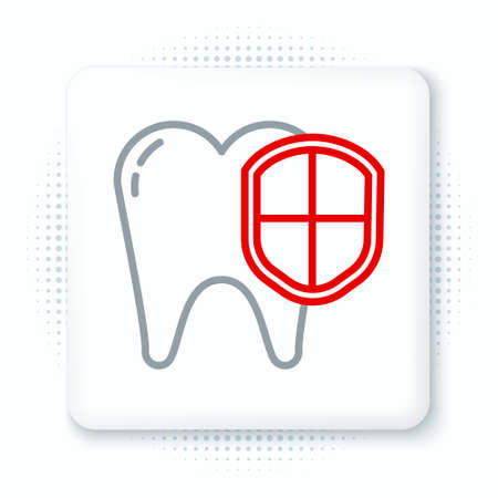 Line Dental protection icon isolated on white background. Tooth on shield. Colorful outline concept. Vector