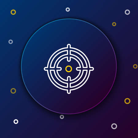 Line Target sport icon isolated on blue background. Clean target with numbers for shooting range or shooting. Colorful outline concept. Vector