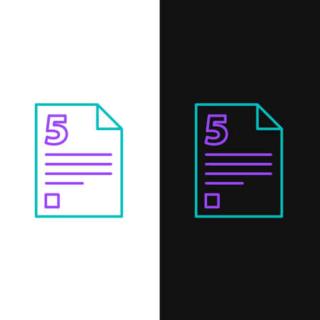 Line Test or exam sheet icon isolated on white and black background. Test paper, exam or survey concept. Colorful outline concept. Vector