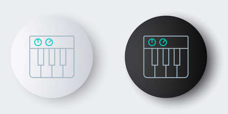 Line Music synthesizer icon isolated on grey background. Electronic piano. Colorful outline concept. Vector