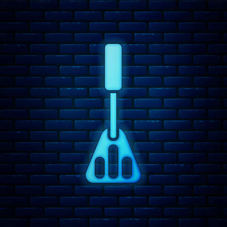 Glowing neon Spatula icon isolated on brick wall background. Kitchen spatula icon. BBQ spatula sign. Barbecue and grill tool. Vector 일러스트