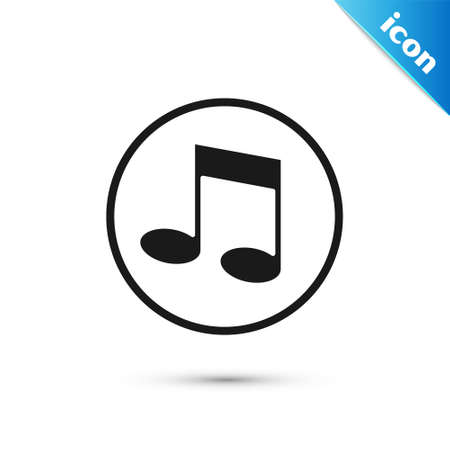 Grey Music note, tone icon isolated on white background. Vector 向量圖像