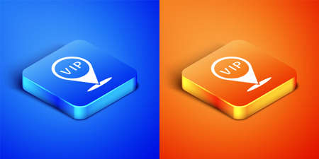 Isometric Location Vip icon isolated on blue and orange background. Square button. Vector Vettoriali