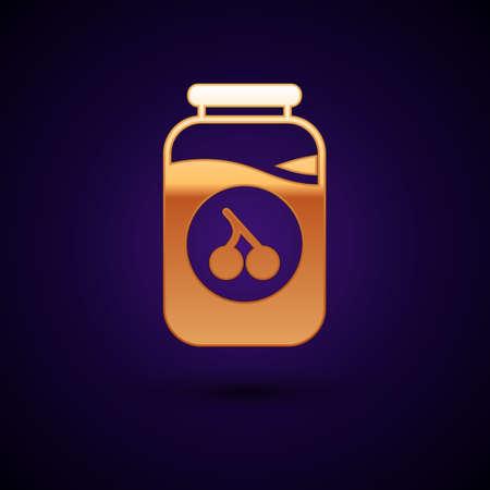 Gold Cherry jam jar icon isolated on black background. Vector 向量圖像