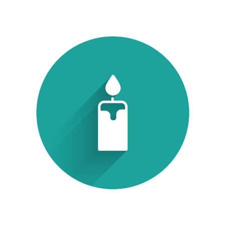 White Burning candle icon isolated with long shadow. Cylindrical candle stick with burning flame. Green circle button. Vector Ilustracja