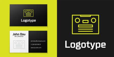 line Retro audio cassette tape icon isolated on black background.   design template element. Vector Illustration 向量圖像