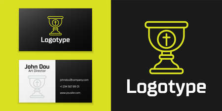 line Christian chalice icon isolated on black background. Christianity icon. Happy Easter.   design template element. Vector Illustration Vettoriali
