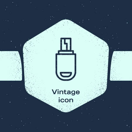 Grunge line USB flash drive icon isolated on blue background. Monochrome vintage drawing. Vector Illustration 向量圖像