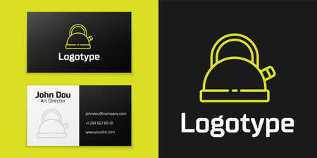 line Kettle with handle icon isolated on black background. Teapot icon.   design template element. Vector 矢量图像