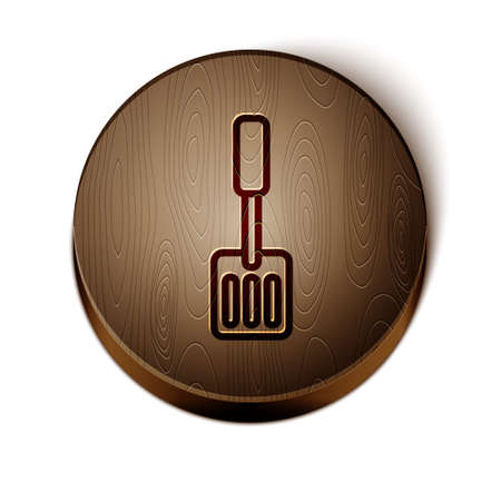 Brown line Spatula icon isolated on white background. Kitchen spatula icon. BBQ spatula sign. Barbecue and grill tool. Wooden circle button. Vector
