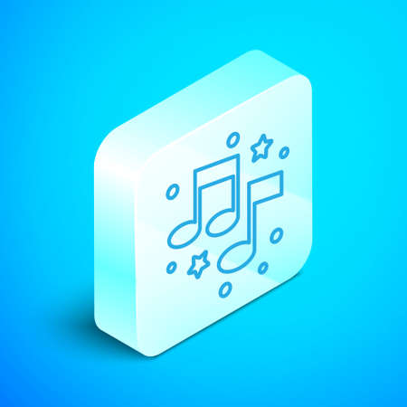 Isometric line Music note, tone icon isolated on blue background. Silver square button. Vector