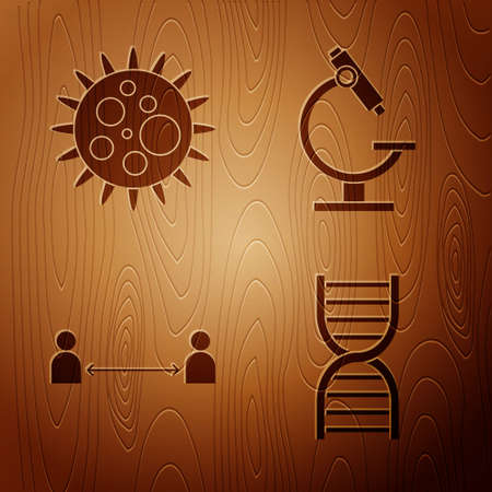 Set DNA symbol, Virus, Safe distance and Microscope on wooden background. Vector