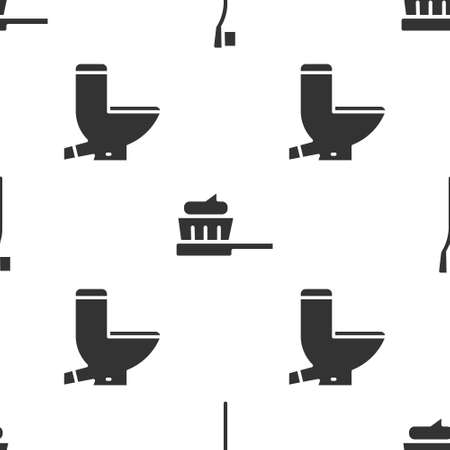 Set Toothbrush, Toothbrush with toothpaste and Toilet bowl on seamless pattern. Vector 向量圖像