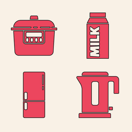 Set Electric kettle, Slow cooker, Paper package for milk and Refrigerator icon. Vector 矢量图像
