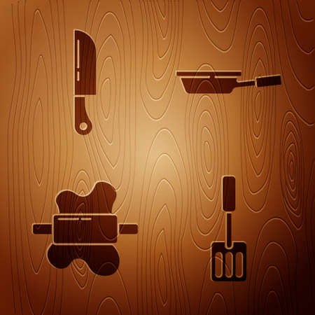 Set Spatula, Knife, Rolling pin on dough and Frying pan on wooden background. Vector