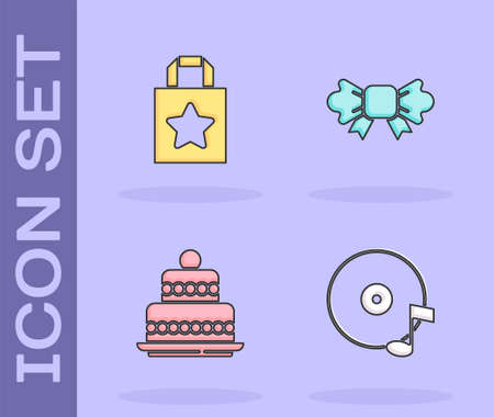 Set Vinyl disk, Paper shopping bag, Cake and Bow tie icon. Vector