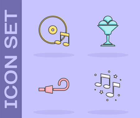 Set Music note, tone, Vinyl disk, Birthday party horn and Ice cream bowl icon. Vector Vettoriali