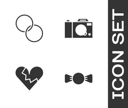 Set Bow tie, Wedding rings, Broken heart or divorce and Photo camera icon. Vector Ilustrace