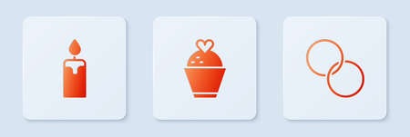 Set Wedding cake with heart, Burning candle and rings. White square button. Vector Ilustracja