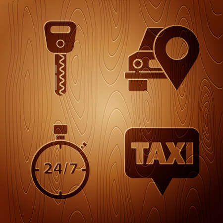 Set Map pointer with taxi, Car key, Stopwatch 24 hours and Map pointer with taxi on wooden background. Vector