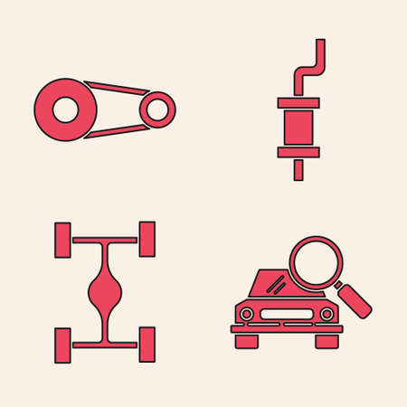 Set Car search, Timing belt kit, Car muffler and Chassis car icon. Vector