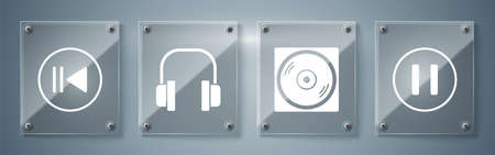 Set Pause button, Vinyl disk, Headphones and Rewind. Square glass panels. Vector