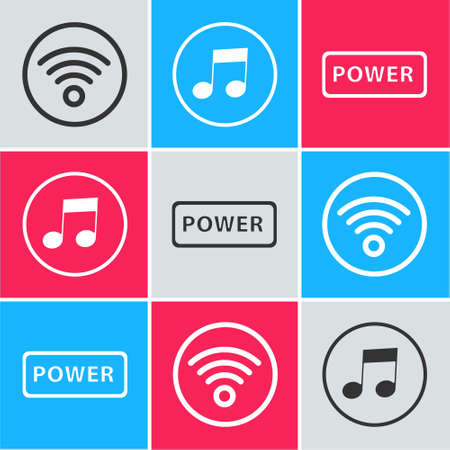 Set WiFi wireless internet network, Music note, tone and Power button icon. Vector