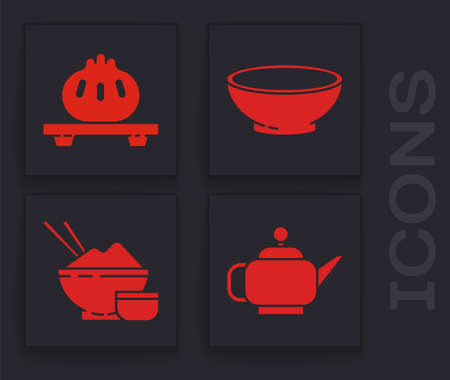 Set Japanese tea ceremony, Dumpling on cutting board, Bowl of hot soup and Rice in a bowl with chopstick icon. Vector