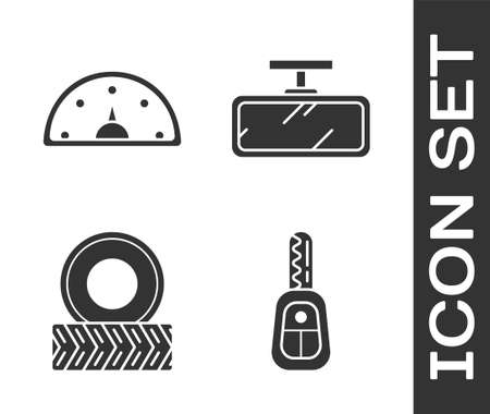 Set Car key with remote, Speedometer, Car wheel and Car mirror icon. Vector Illustration
