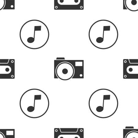 Set Retro audio cassette tape, Photo camera and Music note, tone on seamless pattern. Vector