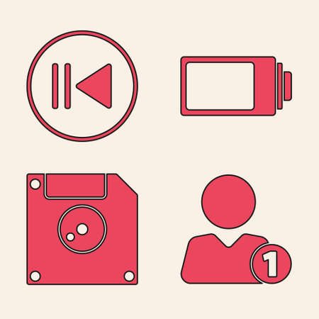 Set Add to friend, Rewind, Battery charge level indicator and Floppy disk for computer data storage icon. Vector