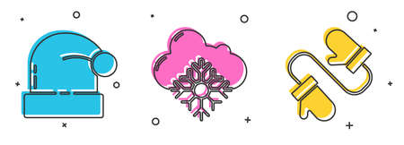 Set Christmas Santa Claus hat, Cloud with snow and Pair of knitted christmas mittens icon. Vector